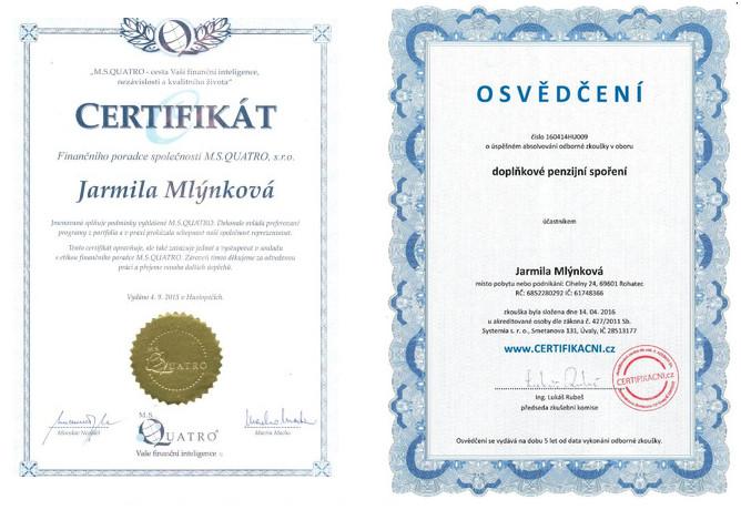 Certifikát - Finanční poradce adoplňkové penzijní spoření