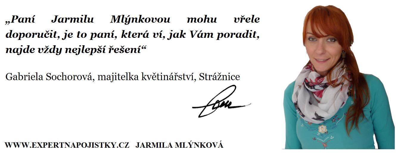 Paní Jarmilu Mlýnkovou mohu vřele doporučit, je to paní, která ví, jak Vám poradit, najde vždy nejlepší řešení